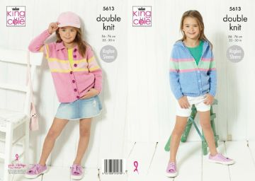 Girls Cardigan and Hoodie  Knitting Pattern, King Cole 5613.